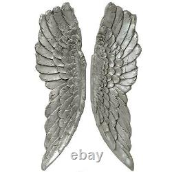 Extra Large Wall Mounted Angel Wings 104cm Antique Silver Wall Hanging Home Deco