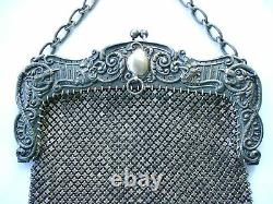 Extraordinary Sterling Mesh Purse With Faces Large WOW