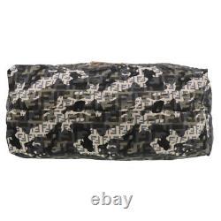 FENDI Zucca Pattern Camouflage Hand Bag Black Nylon Italy Vintage Auth #YY166 Y