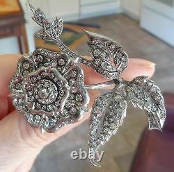 FRENCH ANTIQUE STERLING PASTE LARGE Tudor Rose Flower PIN BEST ON EBAY OLD