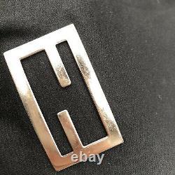 Fendi Vintage Silver Logo Black Tote Bag Leather Adjustable Straps Authentic