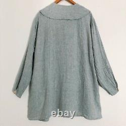 Flax 2002 ARTISTS SMOCK L/XL Linen Tunic Top Jacket Vtg Aqua Blue Gray