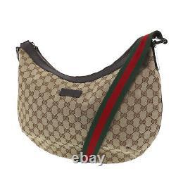 GUCCI Original GG Canvas Web Shoulder Bag Brown Brown Canvas Italy Auth #SS498 O