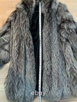 Genuine Silver Fox Fur Coat Jacket Vintage Womens Large