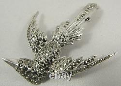 Genuine Vintage Large Sterling Silver Marcasite Pheonix Bird Brooch 6.5cm long