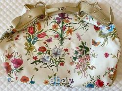 Gucci Authentic Vintage Large Tote Multi-Color Flora & Fauna on White Pre-Owned
