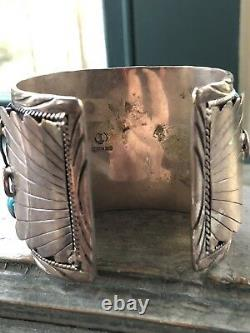 Heavy Large Vintage Navajo Coral Turquoise Sterling Silver Cuff Bracelet Signed