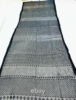Heavy Lrg Egyptian Assiut Assuit Tulle Silver Black Shawl Wrap Veil