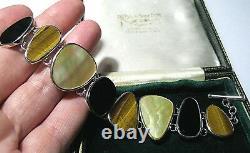 Heavy Vintage Hallmarked Sterling Silver Natural Gem Stone Large Signed Bracelet