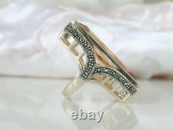 Huge Vintage Art Deco Style Sterling Silver 925 Couture Statement Large Ring 7