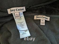 Juicy Couture Original Y2K Crown Vintage Black Velour Tracksuit Set Large USA