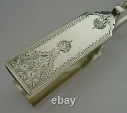LARGE 138g ENGLISH STERLING SILVER ASPARAGUS SANDWICH SERVING TONGS 1901 ANTIQUE