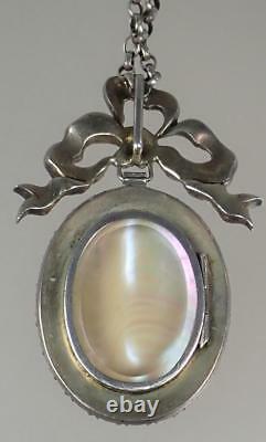 LARGE Antique Georgian Silver Gilt Paste MOP Cupid Locket Pendant Necklace c1790