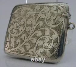 LARGE DOUBLE SIZE ENGLISH SOLID STERLING SILVER VESTA CASE 1919 ANTIQUE 26g
