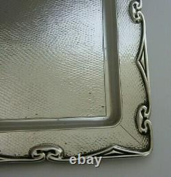 LARGE ENGLISH SOLID STERLING SILVER BRUCE FAMILY CRESTED TRAY 1910 ANTIQUE 368g