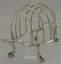 LARGE ENGLISH SOLID STERLING SILVER SIX SLICE TOAST RACK 1912 ANTIQUE 122g