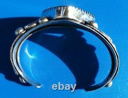 LARGE VINTAGE NAVAJO STERLING SILVER HEAVY NUMBER 8 MINE TURQUOISE Cuff 70.5 GR