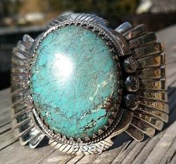 LARGE VINTAGE NAVAJO STERLING SILVER TURQUOISE STORMY MOUNTAIN Cuff 86.3 Grams