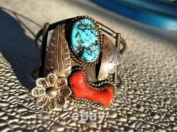 LARGE VINTAGE Sterling Silver Navajo Turquoise/Red Coral Cuff Bracelet 39 Grams