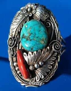 LARGE VINTAGE Sterling Silver Navajo Turquoise/Red Coral Cuff Signed T 65.4 Gram
