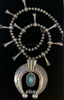 LARGE Vintage Navajo sterling silver Squash Blossom Bead Naja Necklace