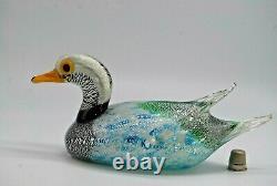 LARGE vintage Murano Formia Mian Giuliano silver foil glass duck sculpture 9.5
