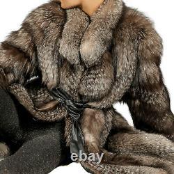 L Pelzjacke Silberfuchs Jacke Fuchs silver fox fur jacket Fledermausärmel modern