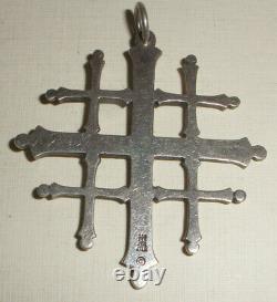 Large 2 Vintage Retired James Avery Sterling Silver Jerusalem Cross Pendant