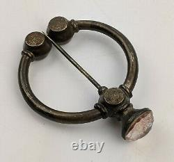 Large Antique Scottish Silver Penannular Brooch Faceted Pink Stone c19th Celtic
