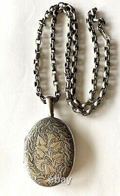 Large Antique Victorian Engraved Sterling Silver Locket Chain Necklace