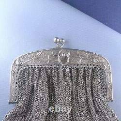Large Art Nouveau Sterling Silver Thistle Mesh Purse / Antique Chatelaine Wallet