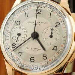 Large Baume Mercier Chronograph 18k Solid Gold Authentic Swiss Gents Watch
