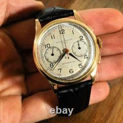 Large Baume Mercier Chronograph 18k Solid Gold Vintage Authentic Manual Wind