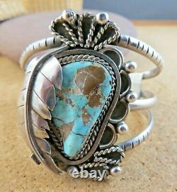 Large Blue Turquoise Squash Blossom Sterling Silver Vintage Cuff Bracelet #203