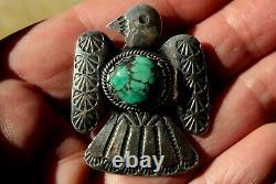 Large Handmade Vintage Navajo Sterling Silver & Turquoise Stone EAGLE Pendant