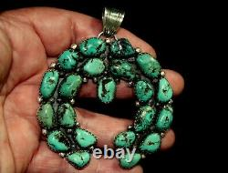 Large & Magnificent Vintage Navajo Sterling Silver & Turquoise Stones Pendant
