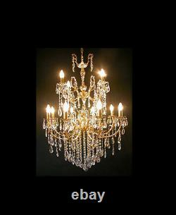 Large Renaissance chandelier with 12 lghts 3 floors real crystals. Antique silver