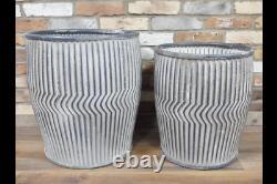 Large Round Vintage Galvanised Metal Barrel Planters Tub Plant Flower Pot Garden