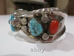 Large Sterling Silver Turquoise Cuff Bracelet Navajo Indian Vintage 925 Coral