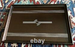 Large Vintage Art Deco Streamline Wood Glass Silver Serving or Cocktail Tray Sou