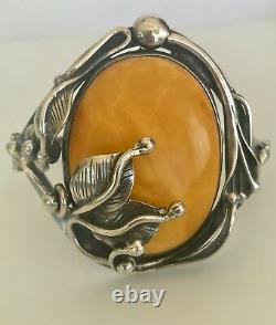 Large Vintage Banana Amber & Sterling Silver Hinged Bracelet Cuff Bangle Floral