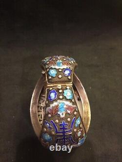 Large Vintage Chinese Silver Enamel and Jade Bracelet