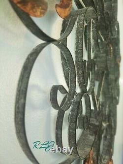Large Vintage French Country Scrolling Wrought Iron Wall Grille Art Plaque Decor