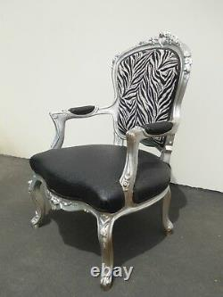 Large Vintage French Provincial Zebra & Ostrich Print Silver Accent Chair