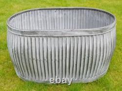 Large Vintage Galvanised Metal Planters Oval Bath Tub Plant Flower Pot Garden
