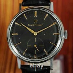 Large Vintage Girard Perregaux Nice Black Dial Manual Wind Original Gents Watch