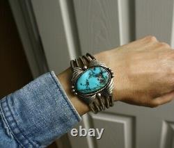Large Vintage Native American Navajo Sterling Silver Turquoise Cuff Bracelet