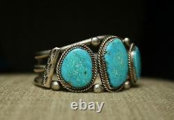 Large Vintage Native American Navajo Turquoise Sterling Silver Cuff Bracelet