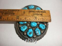 Large Vintage Navajo Dennis Kalisteo sterling silver turquoise belt buckle