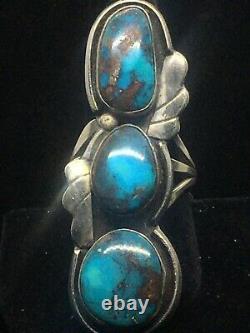 Large Vintage Navajo Handmade Bisbee Turquoise Sterling Silver Ring- Size 11 1/4